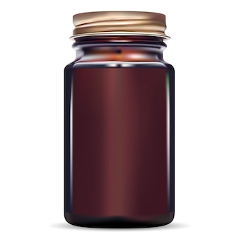 Verre médical à la morue en verre ambré.