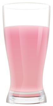 Verre plein de cocktail de fraises au lait