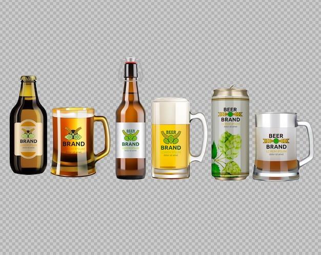 Verre réaliste et bouteilles de bière métalliques
