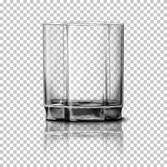 Verre réaliste transparent isolé sur fond à carreaux avec réflexion