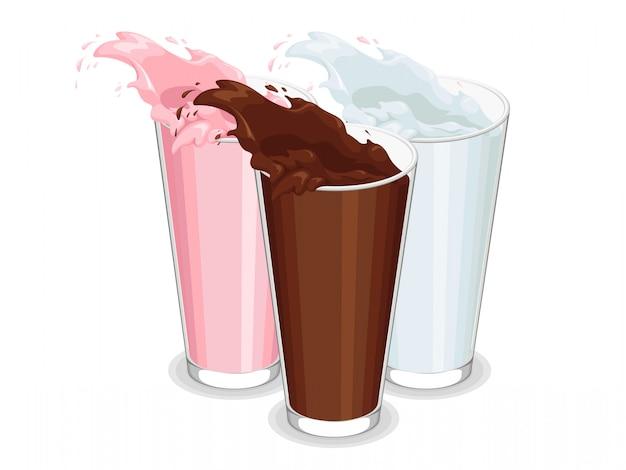 Verre renversé de lait blanc, chocolat et fraise