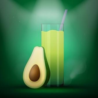 Verre à smoothie réaliste avec des moitiés de fruits d'avocat. mélanger le cocktail detox vert.