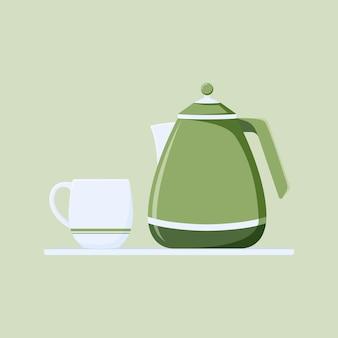 Verre et théière vector illustration fond vert