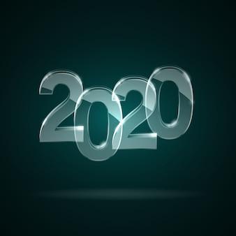 Verre transparent chiffres 2020 nouvel an.