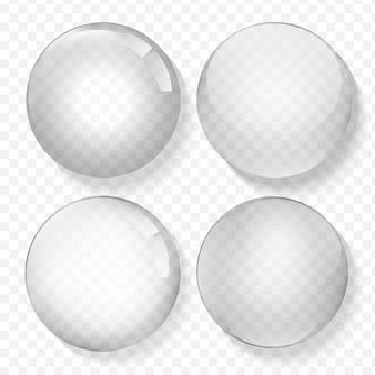 Verre transparent. perle blanche, bulle d'eau, brillant brillant