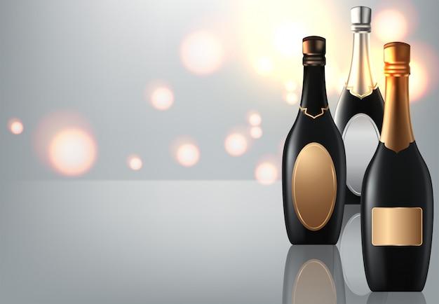 Verre à vin et bouteilles de vin de champagne