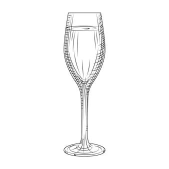 Verre à vin mousseux plein. croquis de verre de champagne dessiné à la main. style de gravure. illustration vectorielle isolée sur fond blanc.