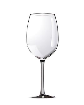 Verre à vin réaliste brillant isolé sur blanc