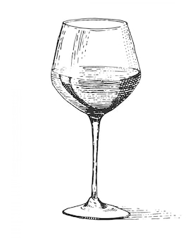 Verre à vin rouge vintage gravé, dessiné à la main vieux