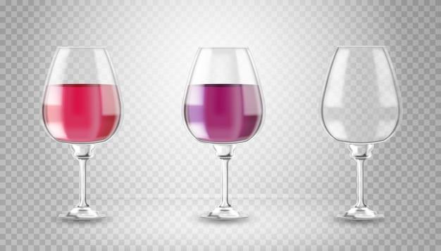 Verre à vin transparent avec ombre sur fond transparent