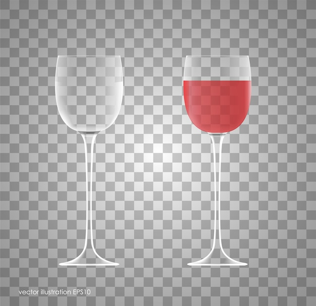 Verre à vin transparent. vide et plein.