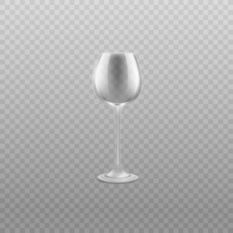 Verre à vin en verre vide sur illustration réaliste de haute jambe.