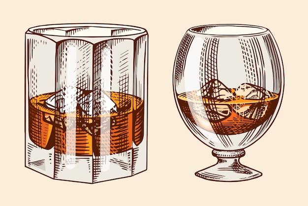 Verre vintage d'illustration de whisky