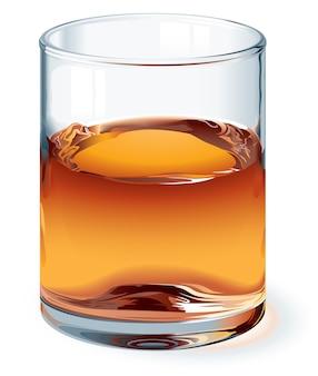 Verre de whisky highball isolé sur blanc