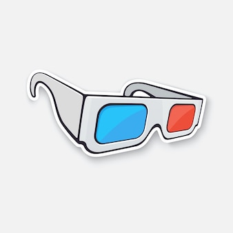 Verres 3d papier vue isométrique lunettes rétro stéréo vector illustration