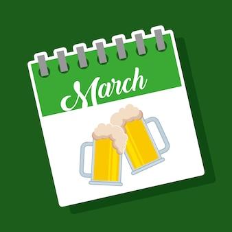 Verres à bière calendrier mars buvez la célébration de st patricks