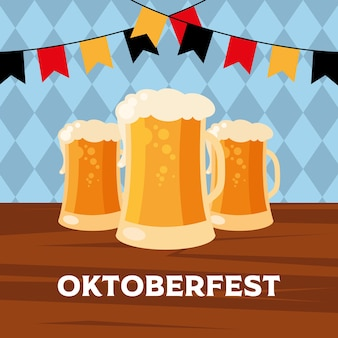 Verres à bière avec conception de fanion de bannière, thème du festival et de la célébration allemand oktoberfest