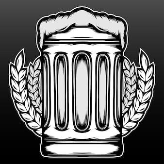 Verres à bière dessinés à la main isolés sur fond noir