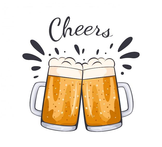 Verres à bière tasse illustration dessinée à la main.
