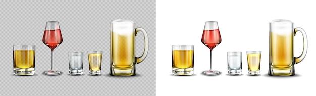 Verres avec boissons alcoolisées