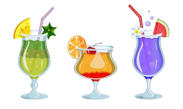 Verres de boissons aux fruits tropicaux vibrants