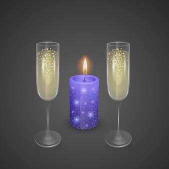 Verres à champagne et bougie avec un revêtement brillant