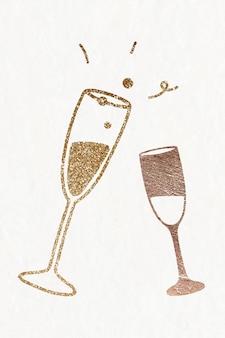 Verres à champagne festifs pailletés psd
