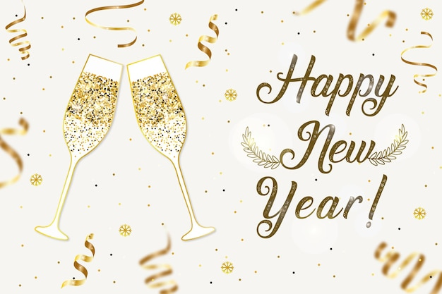 Des verres à champagne scintillent des flocons de neige confettis et l'inscription happy new year