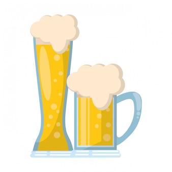 Verres de dessin animé d'icône de bière isolé