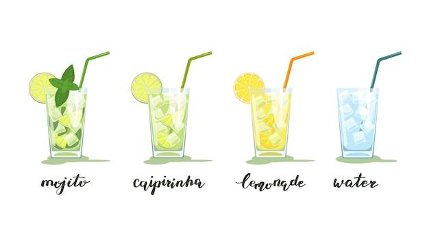 Verres de mojito, caipirinha, limonade et eau avec de la glace