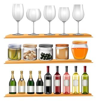 Verres à vin et de la nourriture sur des étagères en bois