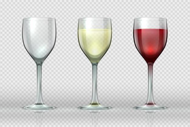 Verres à vin réalistes. verre à vin avec vin rouge et blanc pour les gourmets. coupe en verre isolé vide 3d