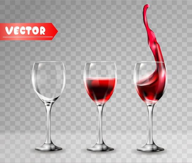 Verres à vin vides et pleins.