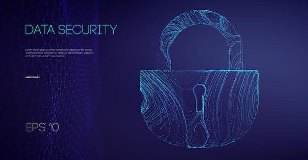 Verrouillage binaire de sécurité des données. concept de pare-feu informatique de code de cryptage. l'alarme verrouille les données du serveur. asiatique il prend en charge l'illustration vectorielle.