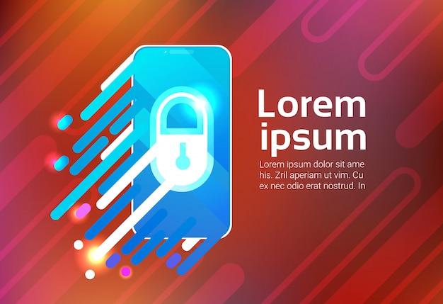 Verrouillage du téléphone intelligent sceern protection de la confidentialité des données, concept de sécurité, application d'identification, smartphone