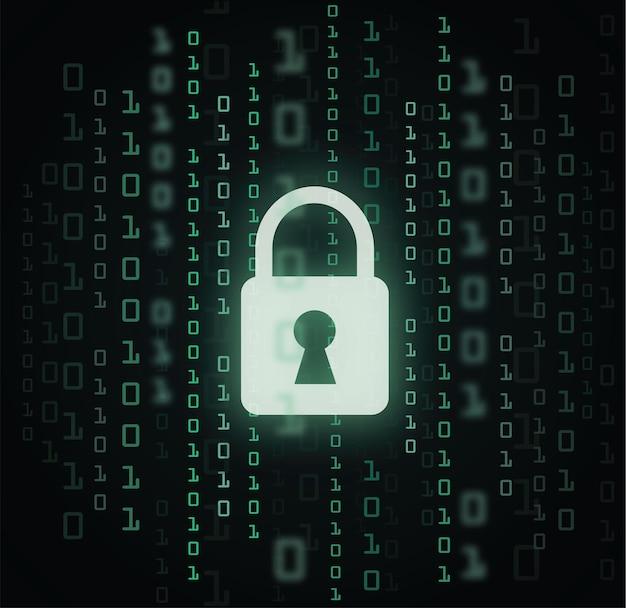 Verrouillage numérique signe de garde numéro de code binaire cyber données