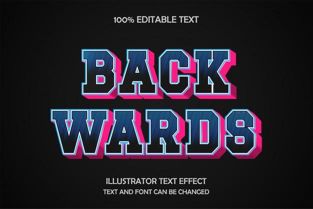 Vers l'arrière, modèle d'effet de texte modifiable style moderne léger