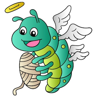 Des vers à soie volants portant des ailes souriantes filaient des fils, art d'illustration vectorielle. doodle icône image kawaii.
