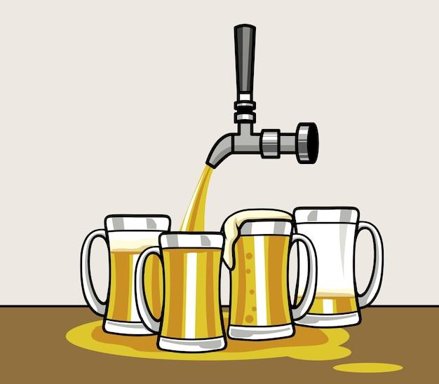 Verser de la bière sur un groupe de mug