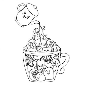 Verser le café doodle illustration