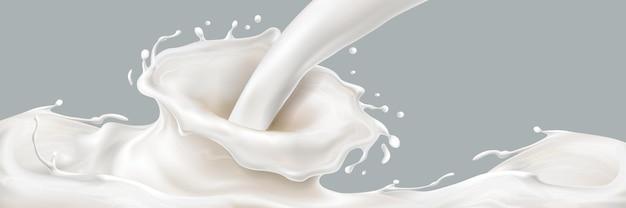 Verser du lait avec des éclaboussures 3d ou du yaourt tombant avec un mouvement d'éclaboussure réaliste de liquide ou d'écoulement