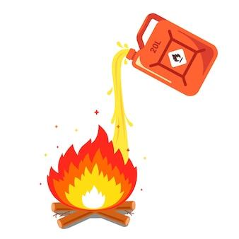 Verser de l'essence dans le feu