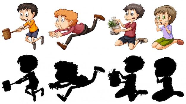 Version silhouette et couleur des enfants dans des actions amusantes