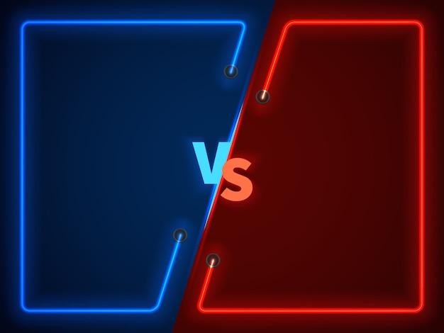 Versus bataille, écran de confrontation des entreprises avec des cadres de néon et vs