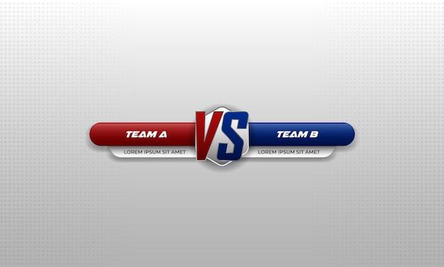 Versus battle. couleur rouge et bleu