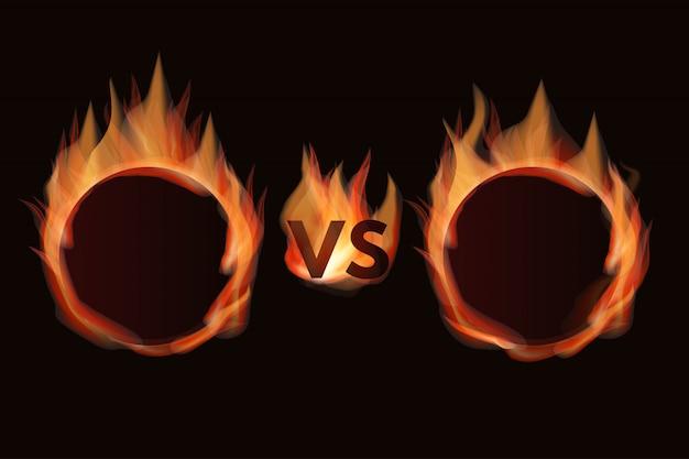 Versus écran avec des cadres de feu. vs écran enflammé