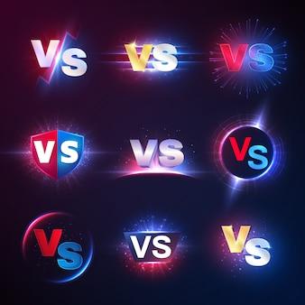 Versus emblèmes. vs mma competition, battle confrontation contest