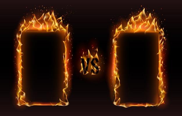 Versus frames. feu vs cadre, écran de boxe contre illustration de défi de match de combat sportif