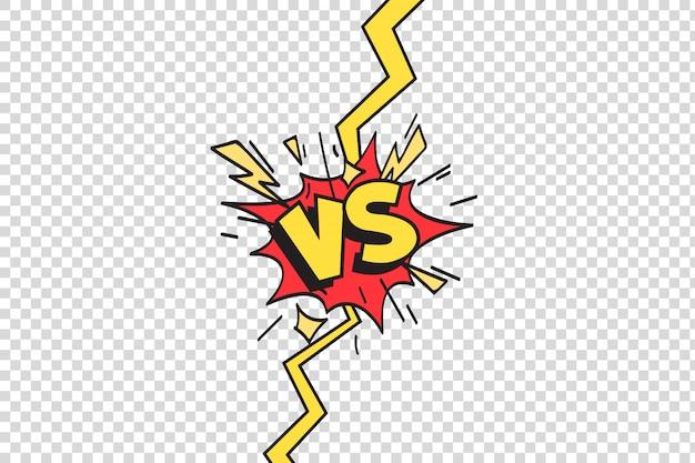 Versus frontière de rayon de foudre, duel de combat comique et illustration de dessin animé de combat confrontation isolé