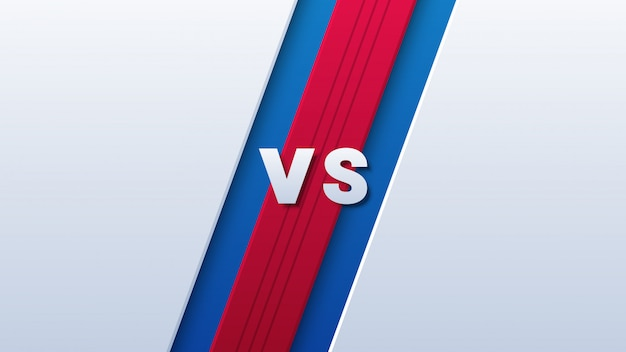 Versus logo pour le sport sur fond rouge et bleu